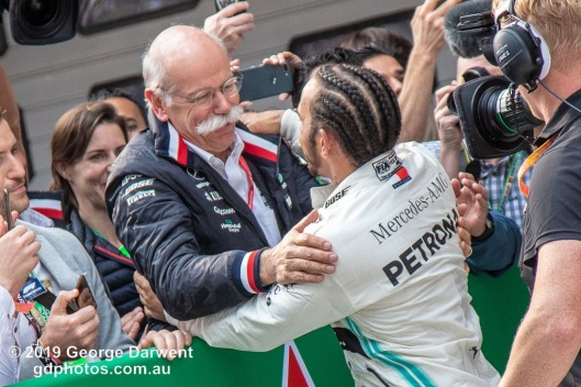 Lewis Hamilton (#44) of the Mercedes Formula 1 team celebrates winning the 2019 Chinese Grand Prix weekend. -------------------------------------------------- Photo taken by me - GDPHOTOS.COM.AU Sunday 14 April 19 Canon EOS 6D Mark II EF24-105mm f/4L IS USM @ 105mm 1/640 sec @ f4.5 800 ISO Please credit if sharing -------------------------------------------------
