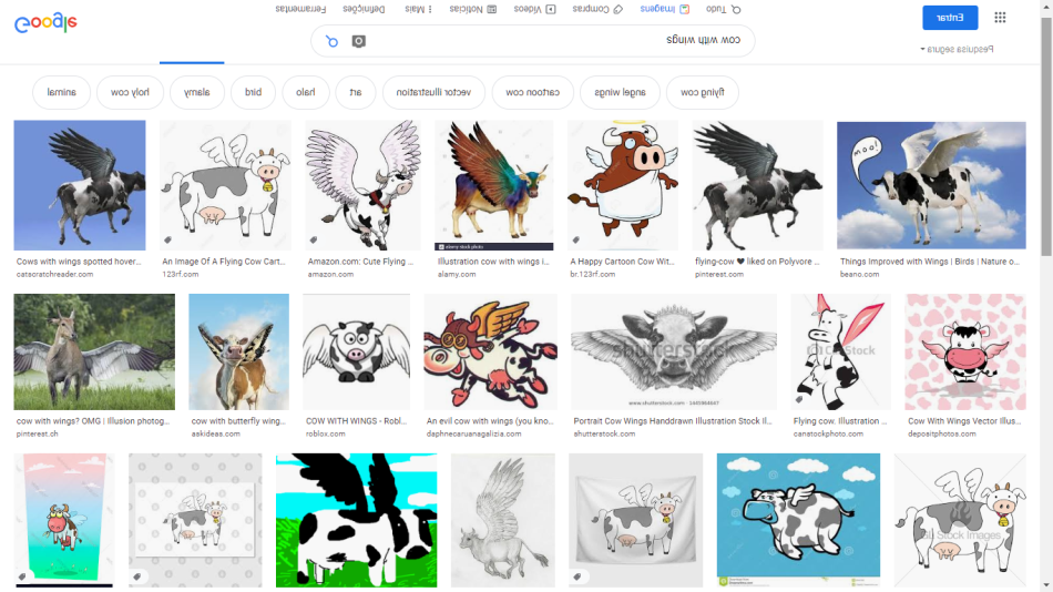 "SG: Google search for ""cow with wings"""