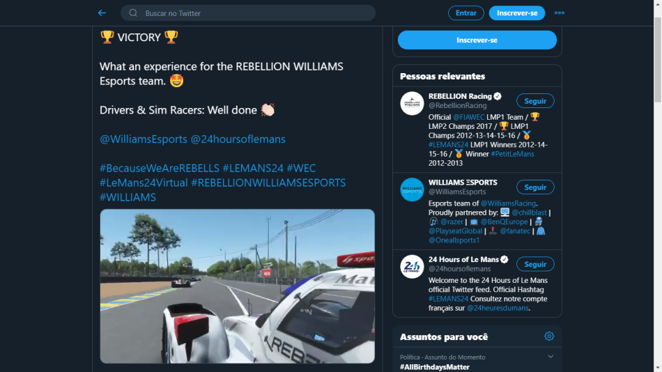 Screen grab: https://twitter.com/RebellionRacing/status/1272155532569325570?s=20
