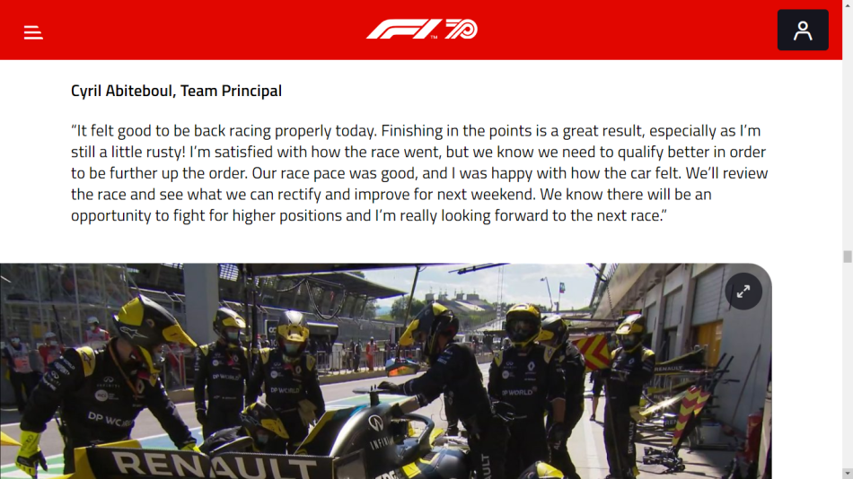 Racing Boul: SG https://www.formula1.com/en/latest/article.what-the-teams-said-race-day-in-austria-2020.13PnIIFaBy3Esq3pIvsBpu.html