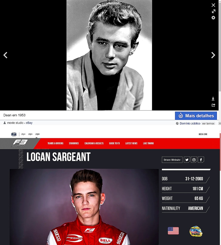 https://pt.wikipedia.org/wiki/James_Dean & https://www.fiaformula3.com/Drivers/1314/Logan-Sargeant